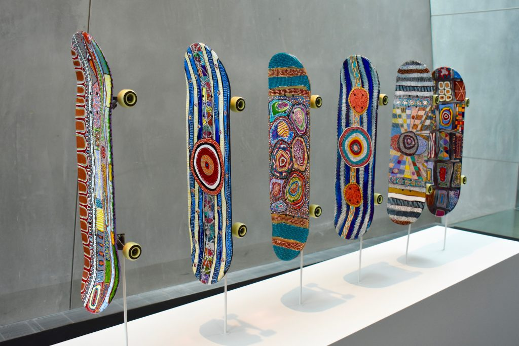 skateboards with aboriginies art