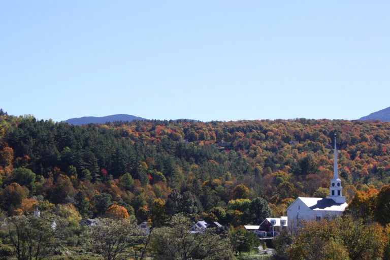 White church in Stowe, Vermont