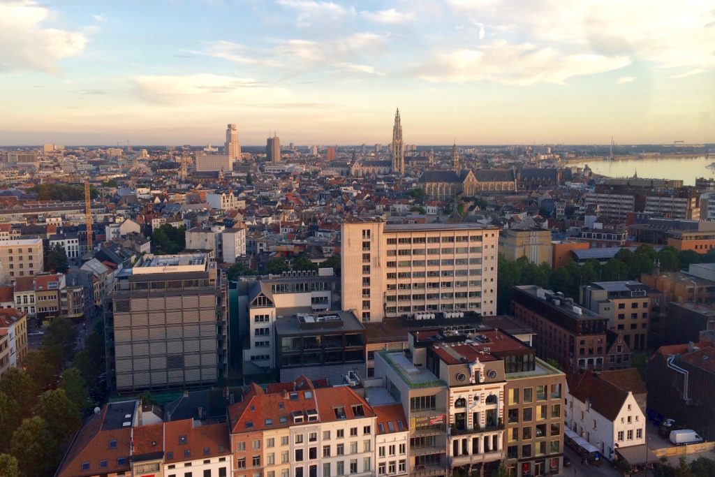 Antwerp skyline at sunset