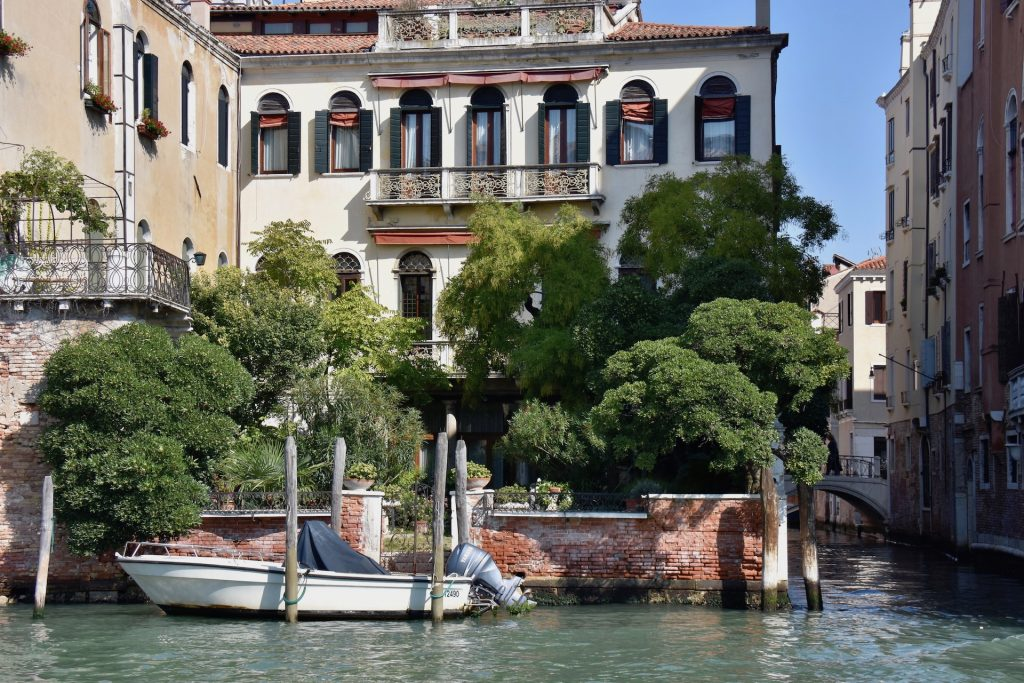 garden and palazzo in Venice Italy