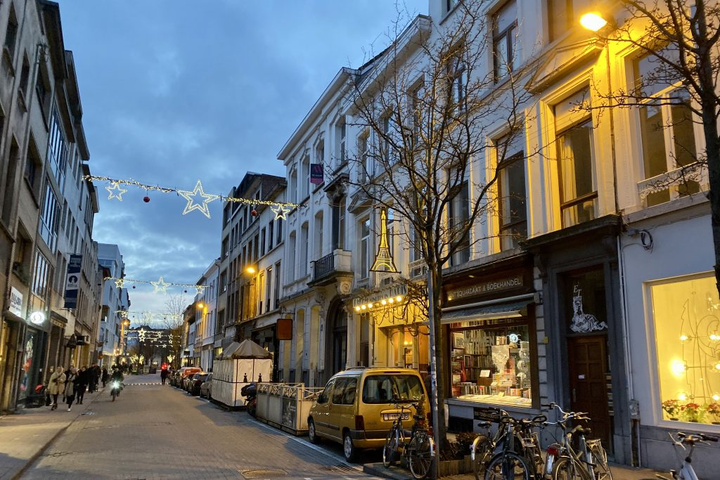 Antwerp streets in the evening